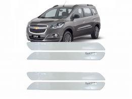 Protetor de Parachoque para Chevrolet Spin 2012/2015 Transparente com Escrita em Cromado