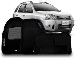 Tapete Personalizado Ford EcoSport 03/12 Preto 5pç + Trava Segurança