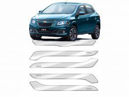 Protetor de Parachoque para Chevrolet Onix 2013/2015 Transparente com Escrita em Cromado
