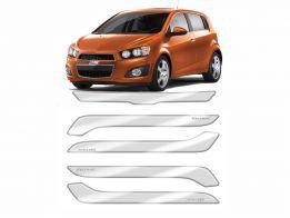 Protetor de Parachoque para Chevrolet Sonic 2012/2014 Transparente com Escrita em Cromado